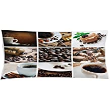 Kitchen Throw Pillow Cushion Cover by Lunarable, Collage of Coffee and Products Beans Deserts Ice Cream Cinnamon Hot Drink, Decorative Square Accent Pillow Case, 36 X 16 Inches, Dark and Pale Brown