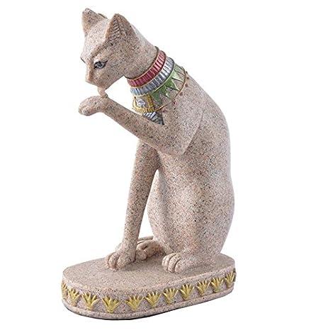 Favourall Figura Decorativa de Gato con Piedra de Arena para Decorar el hogar, Regalo Ideal