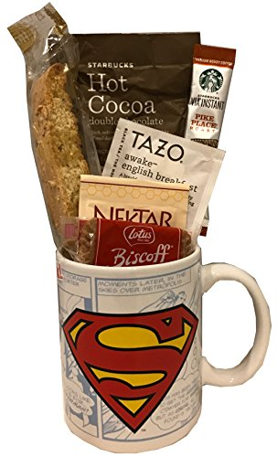 Coffee Tea Cocoa Mug Gift Set with Starbucks Via Coffee, Starbucks Hot Cocoa, Tazo Tea, Honey, Nonni's Biscotti + More ~Lots of Cup Styles~ (Superman)
