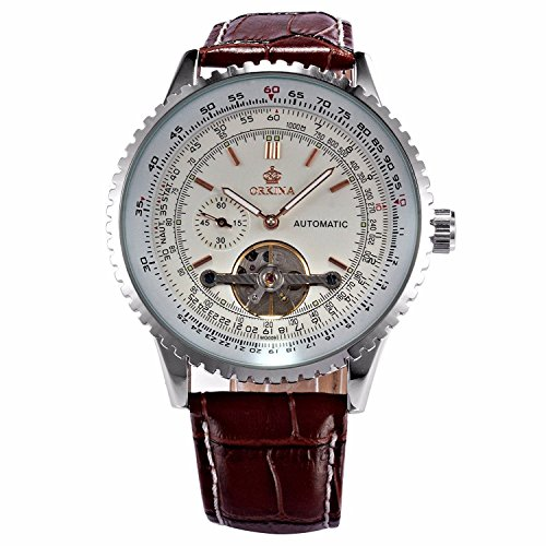 Carrie Hughes Men's Automatic Watches Steampunk Tourbillon Mechanical Stainless Steel Waterproof Watch