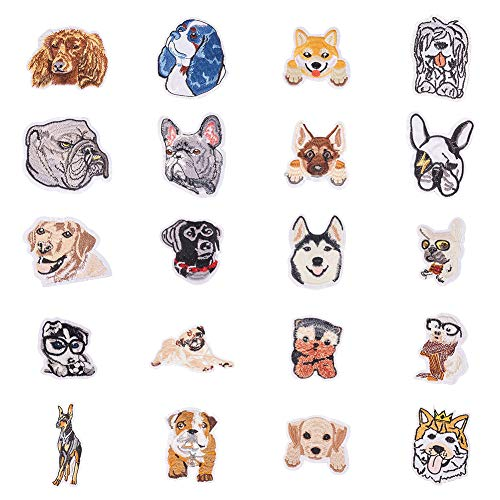 (PandaHall Elite 20 pcs Cloth Iron On/Sewing on Patches Dog Theme Embroidered Patches for Hat Jackets Backpacks Jeans Clothes Shoes)