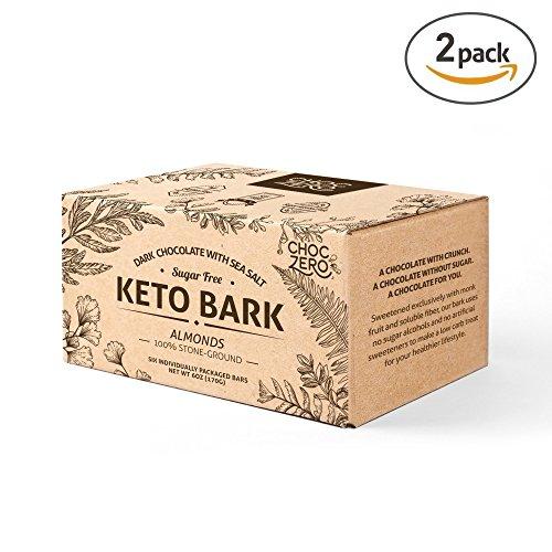ChocZero's Keto Bark, Dark Chocolate Almonds with Sea Salt. 100% Stone-Ground, Sugar Free, Low Carb. No Sugar Alcohols, No Artificial Sweeteners, All Natural, Non-GMO (2 boxes, 6 bars/each) Dark Chocolate Almonds