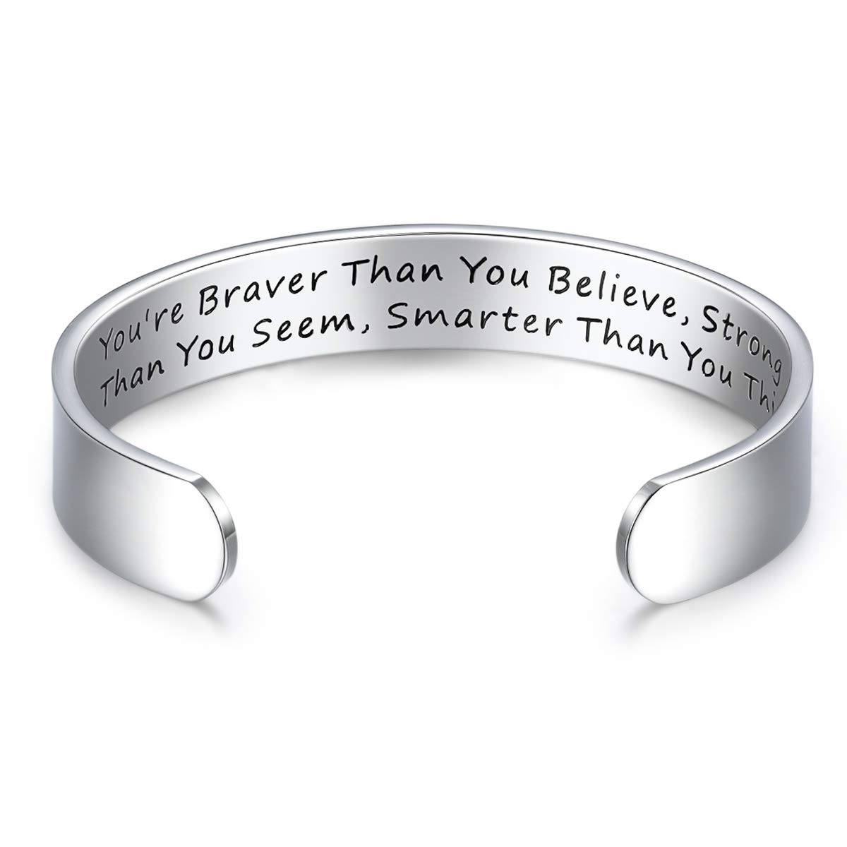 a4782591bea CERSLIMO Bracelets Inspirational Gifts for Women,Stainless Steel  Personalized Engraved Positive Quote Keep Going Bracelets Cuff Bangle  Motivational ...