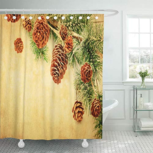 Emvency Waterproof Fabric Shower Curtain Hooks Abstract Christmas Fir Branches Pinecones and Berries Old Wooden Board in Vintage Border 72