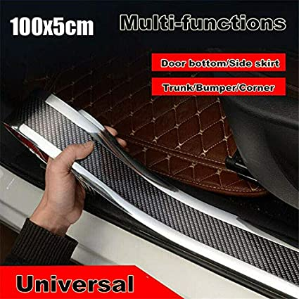 JUST N1 Car Door Sill Carbon Fiber Sticker Styling Cover Protector Rubber Moulding Strip Trim Front Bumper