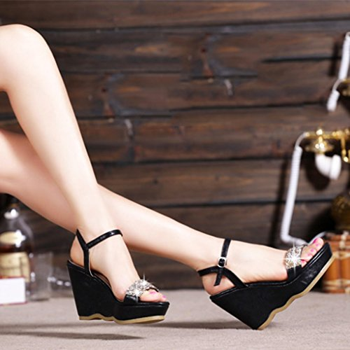Jia di strass alti Black 31 Tacchi Scarpe estive Pin Black Moda Firm cuoio Sandali Scarpe Shi Color Chang zeppa in Ren Size da con donna 12cm Sandali H5x4CqCg