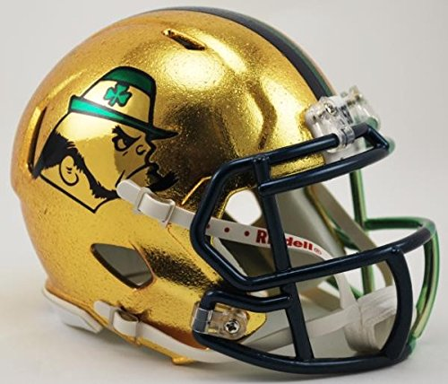 (Notre Dame Fighting Irish NCAA 2015 HydroSkin Boston Series Game Riddell Speed Mini Football Helmet)