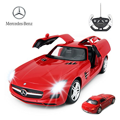 RASTAR RC Car | 1/14 Scale RC Mercedes-Benz SLS AMG Remote Control Car for Kids, Benz Model Car with Open Doors/Working Lights - Red (Model Car Open Door)