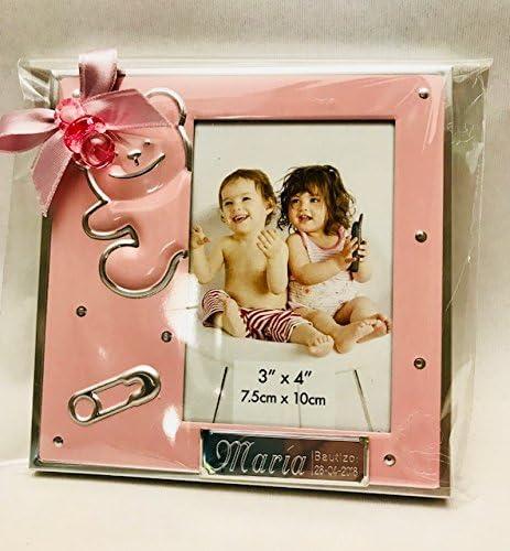 Marcos fotos para bautizo niña GRABADOS PERSONALIZADOS (pack 12 unidades) portafotos regalos invitados marco rosas
