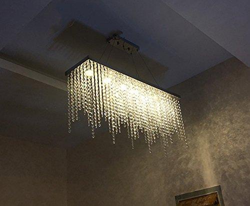 Moooni Rectangular Crystal Chandelier Modern Hanging Dining Room Pendant Lighting L31.5″ x W8″ Rain Drop Decoration 7 Lights