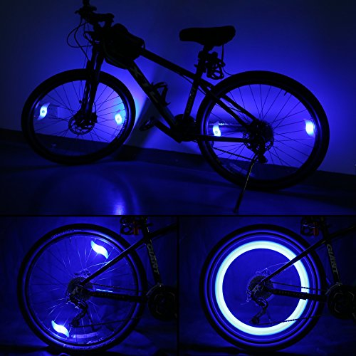 Oumers 4pcs Bike Spoke Light, Spokelit Bicycle Lights, Bicycle Accessories, Bike Flash Lamp Bulb Cycling MTB Wheel Tire Valve Spoke Light, Used for Safety and Warning (Blue Red Green Colorful)