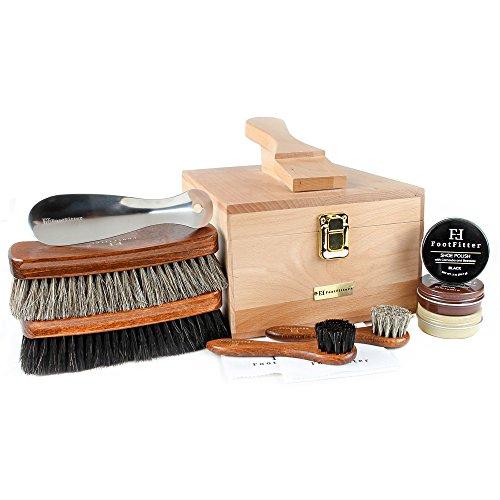 FootFitter Premium Shoe Shine Valet Deluxe 10 Piece Set - Quality Shoe Polishing Kit!