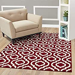 "Diagona Designs Contemporary Moroccan Trellis Design Area Rug, 63"" W x 87"" L, Red/Ivory"