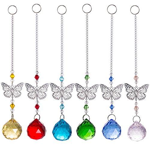 Chandelier Suncatcher Crystal Ball Prisms Pendant Buttrfly Window Prisms Pack of 6 for Windows,Plants,Wedding Decor by LONGSHENG Suncatchers