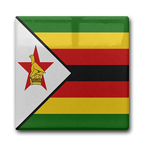 Shenghong Lin Flag Of Zimbabwe Square Ceramic Coffee Drink Coasters Waterproof Non Slip Cup Mats Coasters