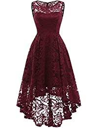 Womens Vintage Floral Lace Sleeveless Hi-Lo Cocktail Formal Swing Dress