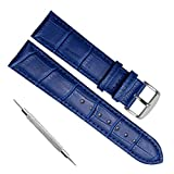 Quick Release Genuine Leather Replacement Watch Band Strap with Stainless Metal Clasp Choice of Color & Width