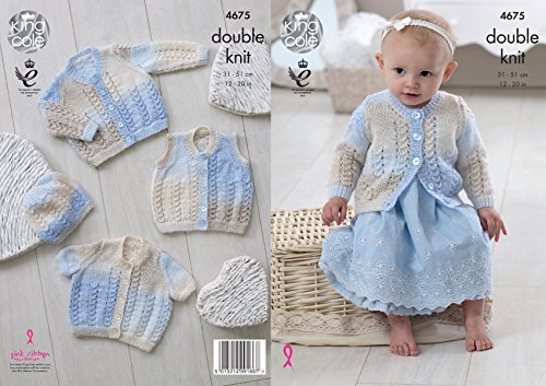 King Cole Baby DK Double Knitting Pattern Lacy Long or Short Sleeve Cardigans Waistcoat & Hat (4675) by King Cole by King Cole