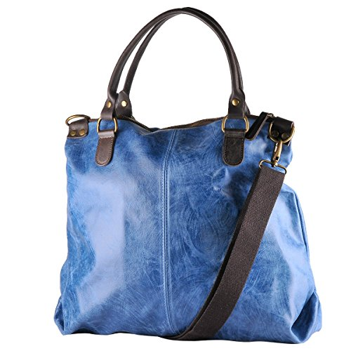 in Vintage Jeans Blu Donna 100 LISA Italy in BORDERLINE Stile da Pelle Borsa Vera Made RwTqE