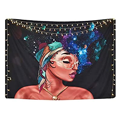Romeooera African American Women Tapestry Wall Hanging Galaxy Girl with Retro Glasses Tapestries, Black Wall Tapestry for Living Room Bedroom