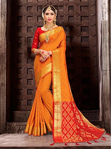 ELINA FASHION Sarees for Women Patola Art Silk Woven Work Saree l Indian Traditional Wedding Ethnic Sari with Blouse Piece (Yellow) by ELINA FASHION (Image #1)