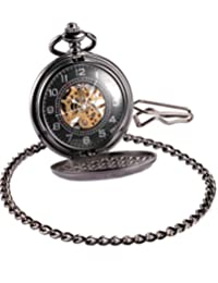 AMPM24 Vintage Hollow Skeleton Case Mechanical Pocket Watch WPK015