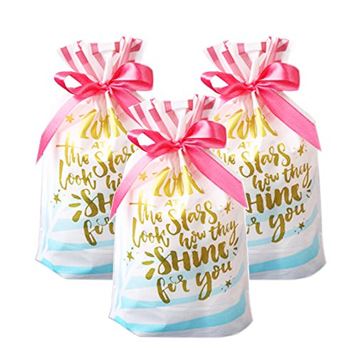 Funcoo 30 PCs Drawstring Gift Treat Bag, Plastic Party Favor Bags Pouch, Candy Goodies Bag for Wedding Party Bridal Baby Shower Birthday Engagement Christmas Holiday Favor