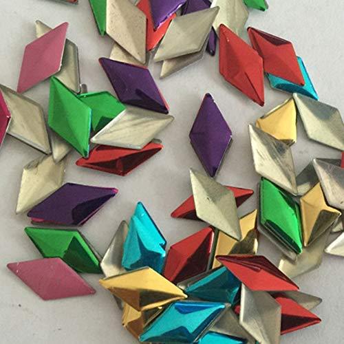 Pukido 50pcs 612mm Color Mixed Rhombus Shape Studs Flat Back Hotfix Iron Beads Rhinestuds Flatback Heat Transfer for DIY -