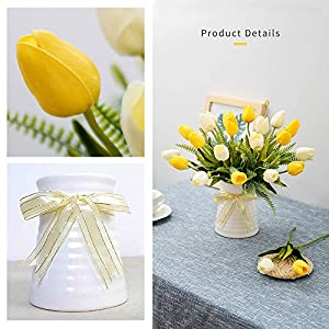 YILIYAJIA Artificial Tulips Flowers with Ceramics Vase Fake Tulip Bridal Bouquets Real Touch Flowers Arrangement for Home Table Wedding Office Decoration(White&Red) 4