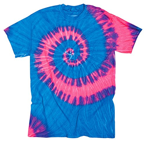 Gildan Tie-Dye Youth Preshrunk Crewneck Wave Jersey T-Shirt, Neon Berry, Medium