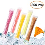 Popsicle Bags, FEBSNOW 200 Pack Ice Pop Mold Bags, Disposable DIY Popsicle Molds Bags Pouches Otter Freeze Pops Popsicle Bags Maker