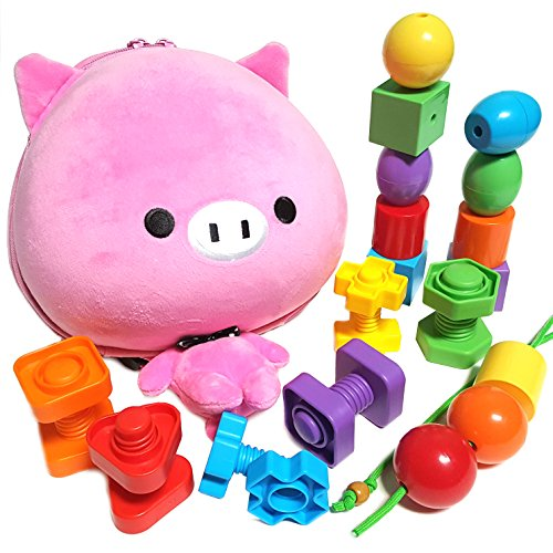 Animal Toddler Backpack with Jumbo Stringing Beads and Nuts and Bolts for Baby, 1, 2, 3, 4 Year Old Boy and Girl - Educational Montessori Matching Fine Motor Skills Toys (And Kids Learn Alphabet Tap Toys)