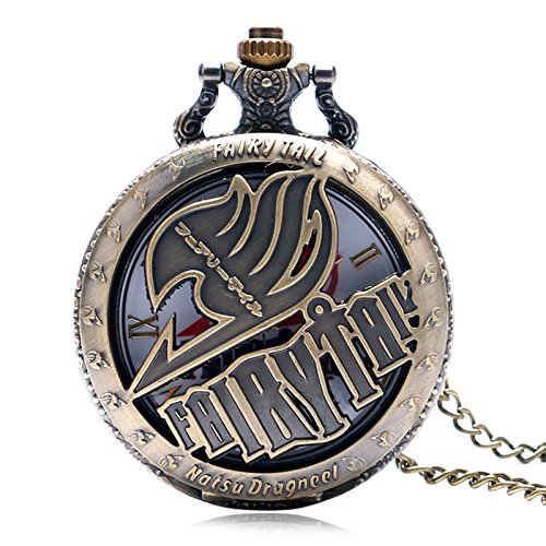 Vintage Animate Fairy Tail Pattern Pocket Watches | Hollow Natus Dragneel Design Vintage Quartz Watch | with Necklace -