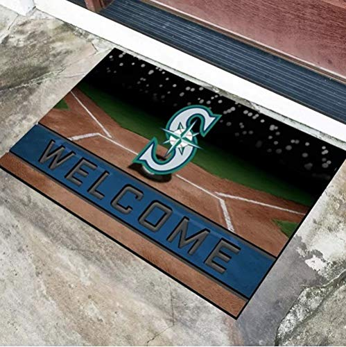 1 Pc Multi MLB Seattle Mariners Door Mat Rug,Beautiful American Baseball League Team Soft 18 X 30 Rug, Non-Slip Backing Heavy Duty Rubber Sports Theme Comfortable 3D Molded Welcome Mat Outdoor Rug ()