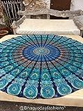 Round Meditation Yoga Mat Mandala Beach Throw Roundie Cotton Tablecloth Beach Towel Feather Peacock Round Mandala Tapestry, 70 Inch Approx