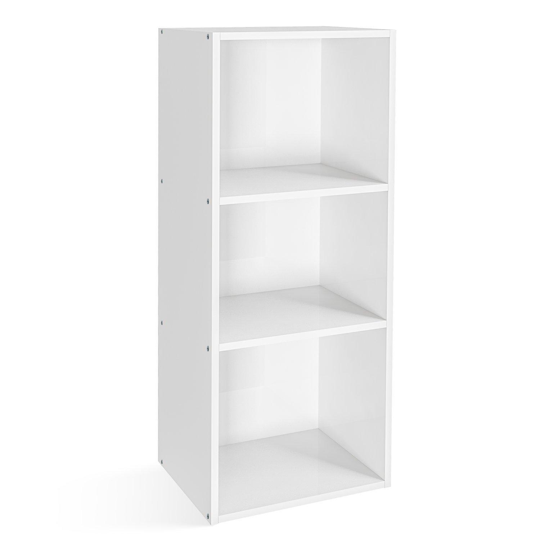 HOMFA Libreria Mobile Per Archiviazione Con Mensola in Legno, Scaffale Cubo Per Libri Bianco (3 Ripiani) HF