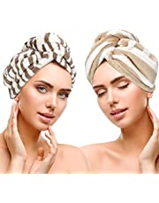 2 Pack Hair Turban Towel, Dry Hair Towel Cap with Loop and Button Fastener, Absorbent Soft Microfiber Hair Cap Shower Cap Hair Towel Wrap Dry Hair Drying Towels for Women, Girl