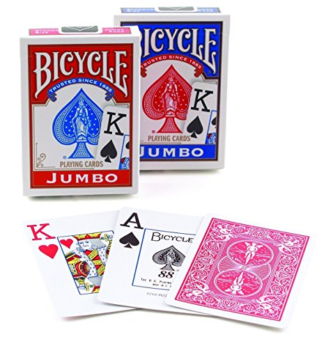 Bicycle Poker Size Jumbo Index Playing Cards (Colors May Vary) (Bicycle Clear Playing Cards)
