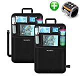 Baby Car Kick Mat Seat Back Cover Protector, Waterproof Auto Kick Mats Storage Organizers Bag, Protects from Dirt, Scuffs & Scratches-Pack 2 (Black)