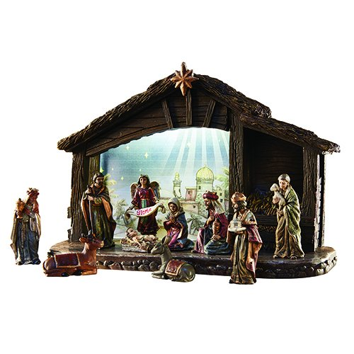Avalon Gallery Lighted Nativity Stable Holy Family 11-Piece Scene Set (Large Lighted Nativity)