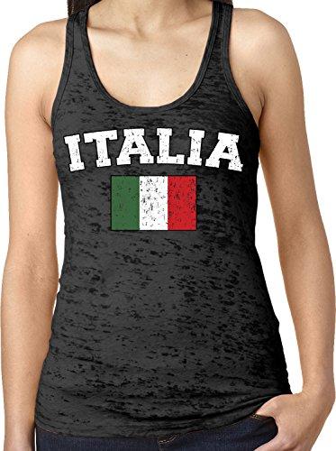 Amdesco Ladies Italian Flag, Flag of Italy, Love Italia Burnout Racerback Tank Top, Black XS