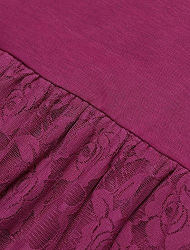 Panel Lace Dress Long Fucsia Empire Waist L K Women's Allegra Sleeve Tq1gq