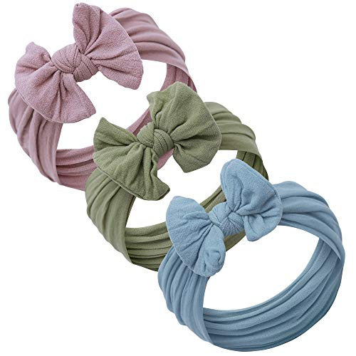 Baby Girl Headbands and bows - Nylon Headband Fits newborns toddlers infants girls (Purple Gray - Sage - Nile Blue)