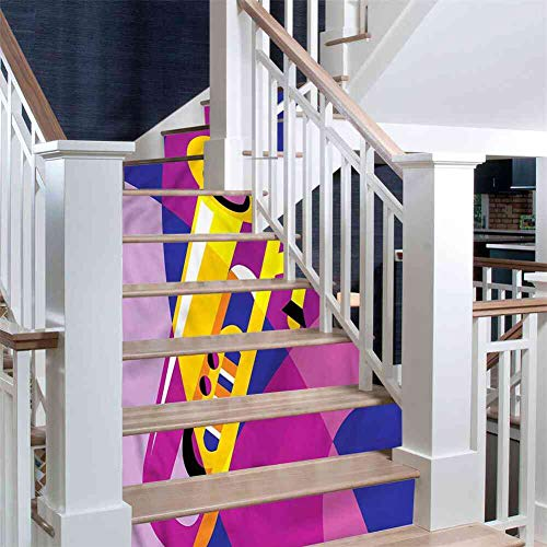 PRUNUS Stairs Stickers Trombone,Pop Art Groovy Jazz Music Family Staircase Decal, Size:W 39