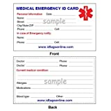 Medical Emergency Wallet Card for Medical Alert Id Bracelets and Dog Tags. 500 pieces.