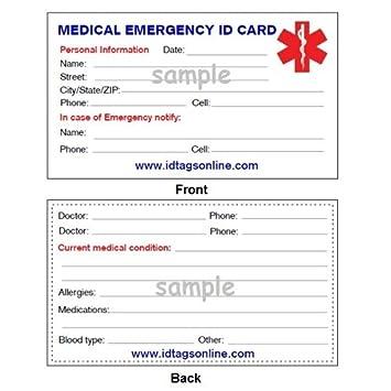 Amazon Com Medical Emergency Wallet Card For Medical Alert Id