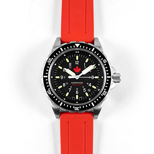 MARATHON WW194018 JSAR Swiss Made Military Issue Jumbo Diver's LGP Watch with MaraGlo Illumination and Sapphire Crystal (Maple - Red Rubber Strap)
