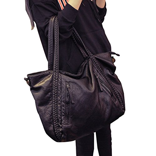Braided Handbag EASEU Women Big Capacity Top-handle Tote Bag Soft Slouchy Faux Leather Shoulder Bag-Big Size