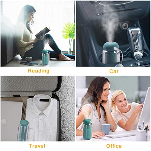 Portable Mini Ultrasonic Cool Mist Humidifiers with Night Light,300ml Small USB Cactus Humidifier for Desk,Bedroom, Home,Office (Green)