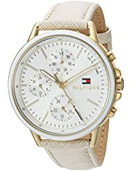 Tommy Hilfiger Womens Sport Quartz Gold-Tone and Leather Casual Watch, Color:Champagne (Model: 1781790)